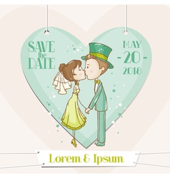 bride and groom - save date wedding card vector image