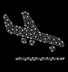 bright mesh 2d airplane arrival with light spots vector image