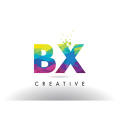 Bx b x colorful letter origami triangles design vector