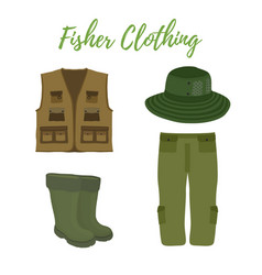 Cartoon clothing for fishing hunting vector