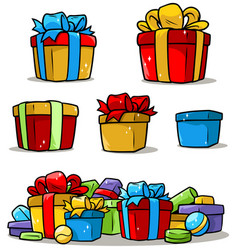 Cartoon colored presents and different gift boxes vector