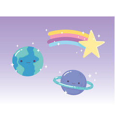cartoon planets earth saturn and shooting star vector image