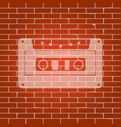 Cassette icon audio tape sign whitish vector