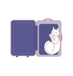 cat sleep in suitcase vector image