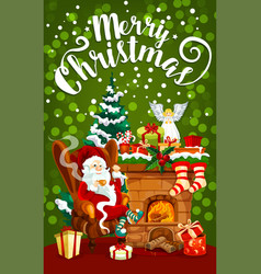 christmas gift fireplace and santa greeting card vector image