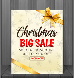 christmas sale background with red realistic vector image