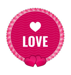 circle pink tag with ornaments and hearts vector image