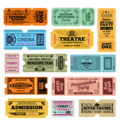 Circus party and cinema vintage admission vector