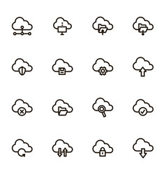 cloud computing signs black thin line icon set vector image