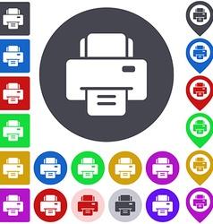 Color printer icon set vector