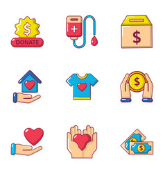 Contribute icons set cartoon style vector
