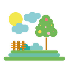 Counds raining with tree and grid wool vector