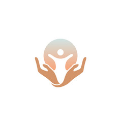 Creative children body silhouette hands logo vector