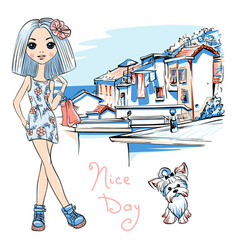 Cute fashion girl in manarola italia vector