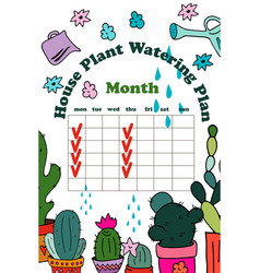 Daily watering planner vector