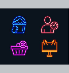 Delete order time management and sponge icons vector
