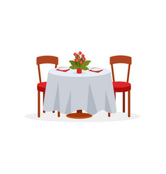 Dining table and chairs for two people romantic vector