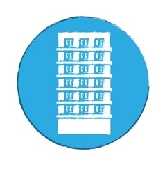 Emblem apartment building line sticker vector