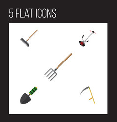 Flat icon garden set of trowel hay fork cutter vector