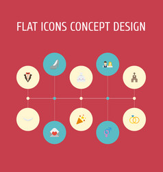 Flat icons sexuality symbol engagement sparkler vector