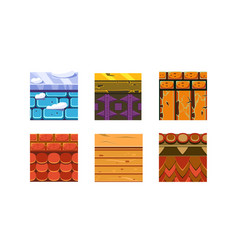 Flat set of 6 texture types for platform vector