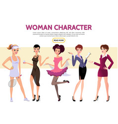 flat woman characters set vector image