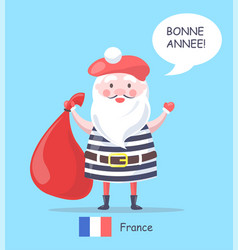 france and santa claus placard vector image