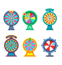 gambling wheels of fortune or roulette for casino vector image