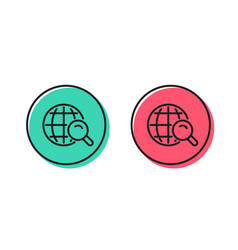 Global search line icon world sign vector