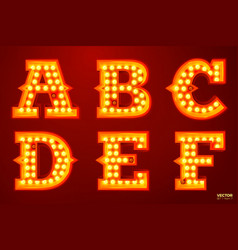 glowing lamp letters for circus movie etc vector image