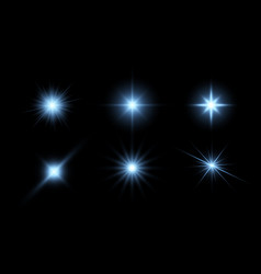 Glowing stars light effects graphic elements vector