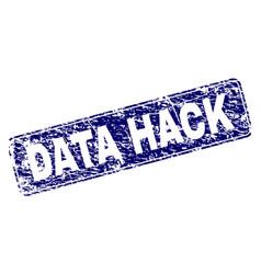 Grunge data hack framed rounded rectangle stamp vector