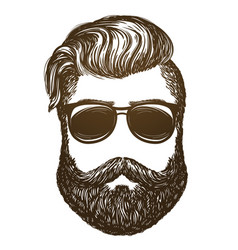hand drawn portrait man with beard hipster vector image
