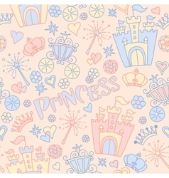Hand drawn seamless princess pattern vector image