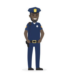 Happy black police officer keeps his hands on belt vector