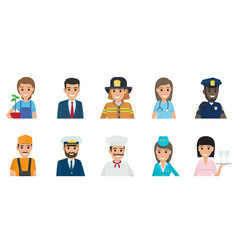 happy representatives of different professions set vector image
