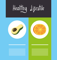 Healthy lifestyle lettering with icons vector