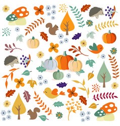 Hello autumn autumn leaves background vector