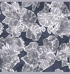 hibiscus flowers silhouette halftone dots screen vector image
