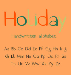 holiday handwritten alphabet vector image