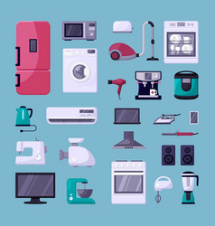 home appliance color flat set vector image