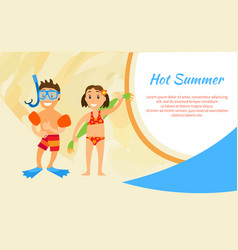 hot summer kids on vacation brother and sister vector image