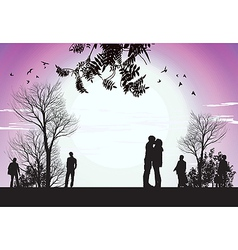 Husband and wife kiss in park vector
