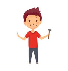 kid builder little worker children with hammer vector image