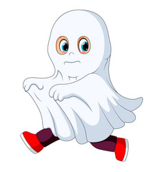 Kid in a ghost costume running vector