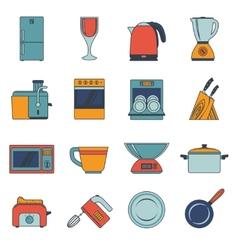 Kitchen appliances icons flat vector image