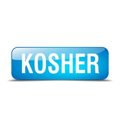 Kosher blue square 3d realistic isolated web vector