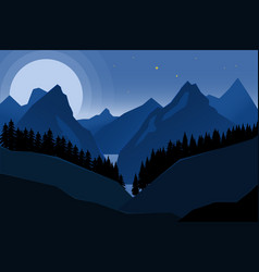 Landscape of night mountains in flat style design vector