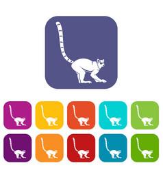 Lemur monkey icons set flat vector