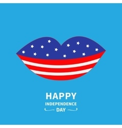 Lips with star and strip Blue backgraund Happy vector